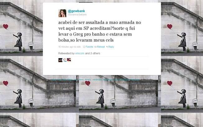 Giovanna Ewbank escreveu que foi assaltada em São Paulo