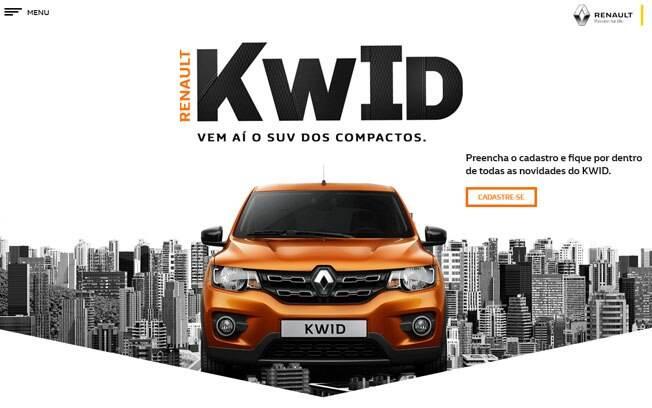 O hotsite do Renault Kwid já permite o cadastro de clientes interessados. Irão divulgar os preços no dia 15 de maio.