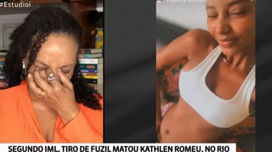 Flávia Oliveira chora durante transmissão da Globonews sobre a morte de Kathlen Romeu