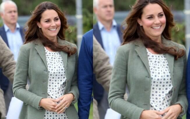 Kate Middleton em sua primeira aparição oficial após o nascimento do filho