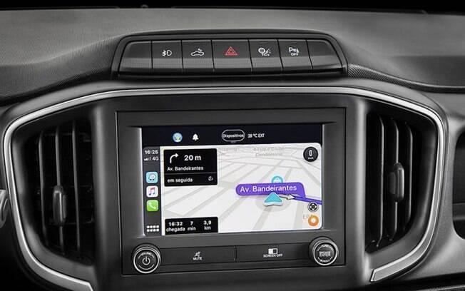 Central multimídia da nova Fiat Strada permite o uso do Android Auto sem fio