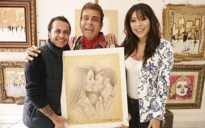 Thammy Miranda e esposa Andressa Ferreira recebem homenagem do artista plástico Roberto Camasmie