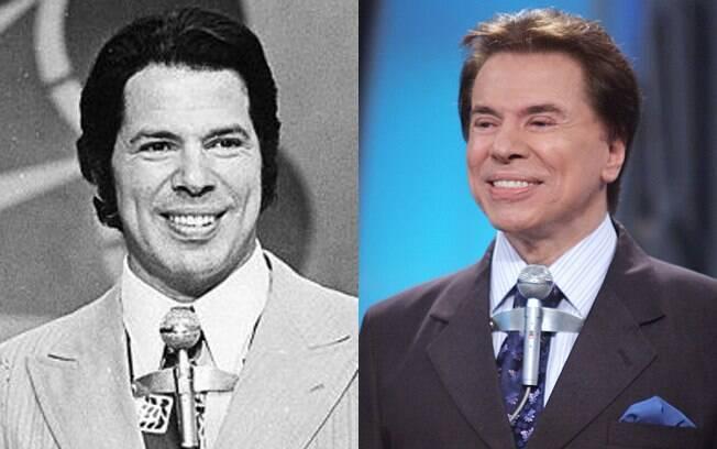 Silvio Santos em dois momentos: o mesmo microfone e o mesmo sorriso