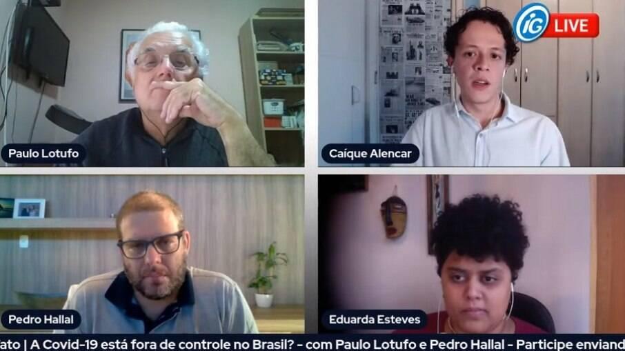 Live do iG teve como convidados os epidemiologistas Pedro Hallal e Paulo Lotufo