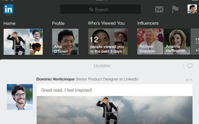 Novo aplicativo do LinkedIn para iPad possui barra de atalhos para facilitar navegação