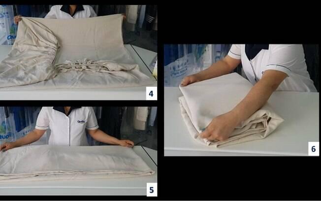 Como dobrar lençol de elástico: fotos referentes aos passos 4, 5 e 6 (da esquerda para a direita)