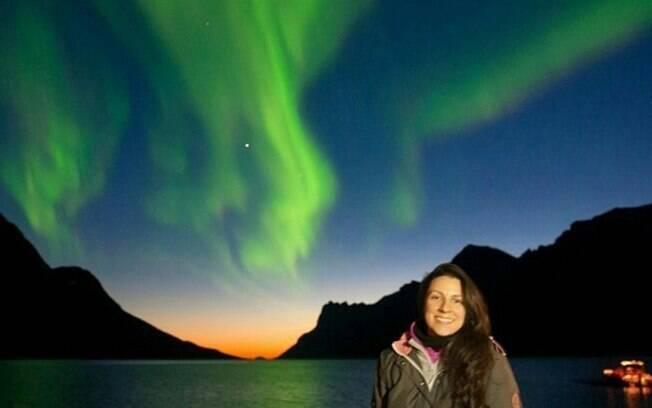 Daniele já conseguiu realizar um de seus sonhos: ver a Aurora Boreal, em Tromsø, na Noruega,