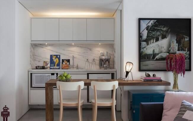 Apartamento de 42m² ficou charmoso com espaços integrados