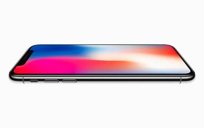 iPhone X tem tela de 5,8 polegadas e uma área na parte superior para posicionar câmera, sensores e alto-falante
