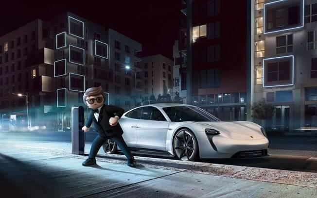 O agente secreto Rex Dasher dirigir um conceito do elétrico Porsche Taycan no filme Playmobil que estreia neste mês