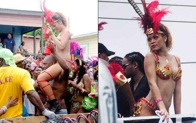Rihanna fazendo a festa em Barbados