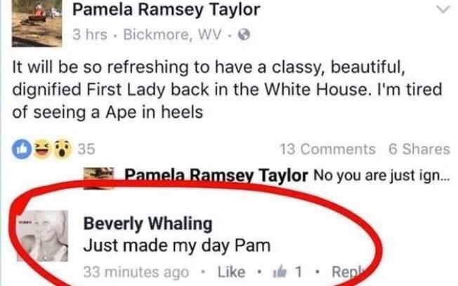 """""""Será refrescante ter uma primeira-dama bonita, digna e cheia de classe de volta à Casa Branca. Estou farta de ver um macaco de saltos altos"""", diz a publicação"""
