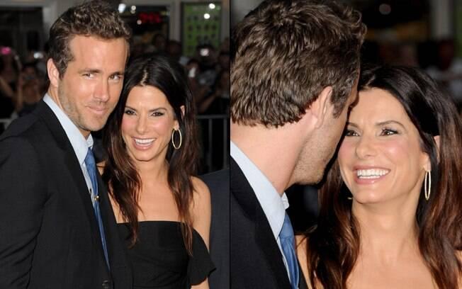 Ryan Reynolds e Sandra Bullock: surpresa na première do novo filme do ator