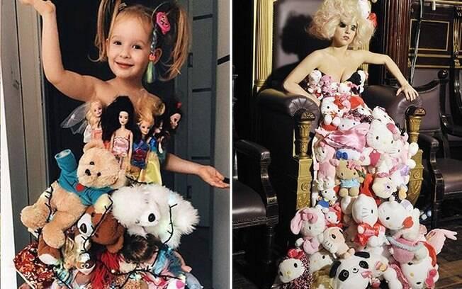 Para recriar as roupas que estão na moda, a menina usa materiais reciclados e impressiona pela similaridade