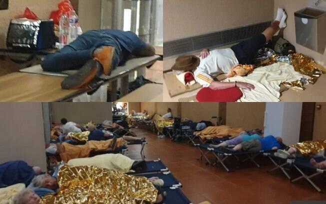 passageiros dormem no chão