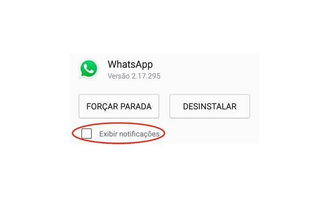 Para desativar todas as notificações do aplicativo basta desmarcar a caixa