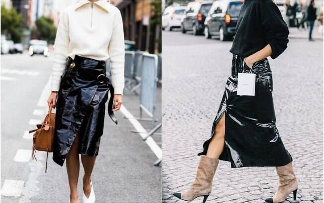 Além das minissaias, as saias midi - que ficam na altura do joelho ou ainda mais para baixo - de vinil também estão em alta