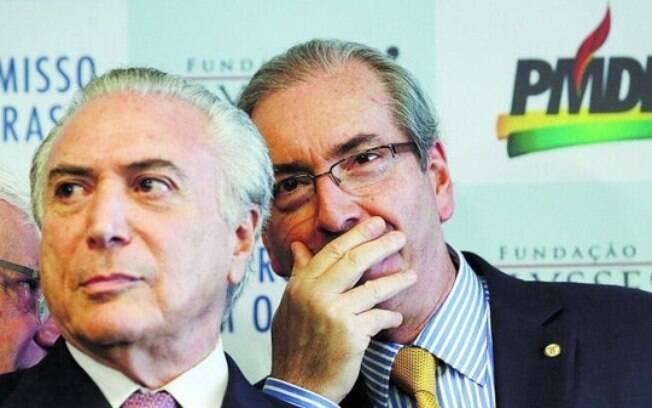 O presidente do PMDB, Michel Temer, ao lado de Cunha, que rompeu com Dilma ainda em 2015