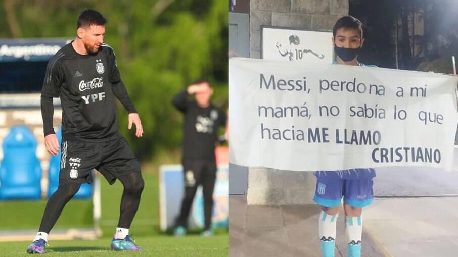 Pequeno Cristiano é fã de Messi