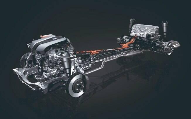 Eis o trem de força do Lexus, pensado para otimizar o conforto e abrigar o sistema híbrido de última geração