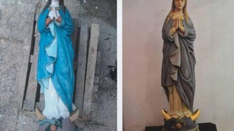 A escultura antes (à esquerda) e depois da restauração profissional