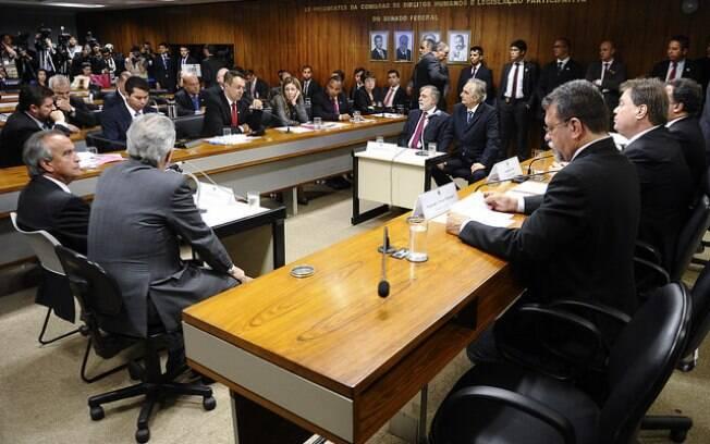 Os ex-diretores da Petrobras frente a frente no Senado Federal, na tarde desta terça-feira. Foto: Jefferson Rudy/Agência Senado