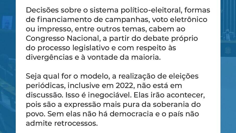 Publicação do presidente do Senado, Rodrigo Pacheco (DEM-MG)
