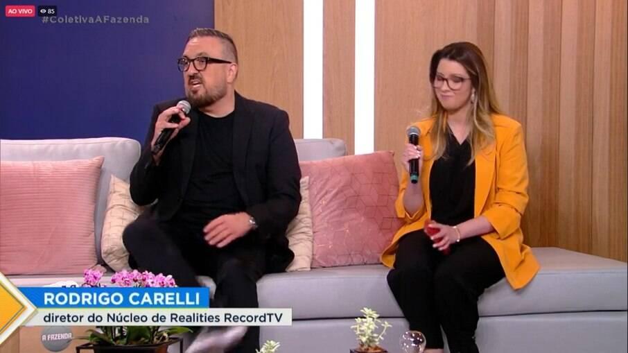 Rodrigo Carelli durante coletiva de imprensa de 'A Fazenda 13'