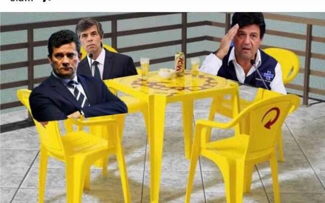 Teich saiu do cargo na manhã desta sexta (15) e já virou piada nas redes, como neste meme em que aparece ao lado de Moro e Mandetta.