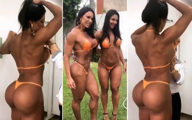 Gracyanne Barbosa e Alane Pereira de biquíni de fita isolante