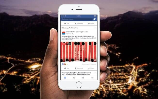 Facebook permite que você escolha uma capa para sua transmissão de áudio; imagem é exibida no feed de notícias