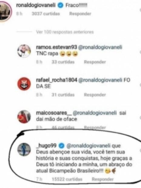 Hugo Souza respondeu crítica de Ronaldo Giovanelli