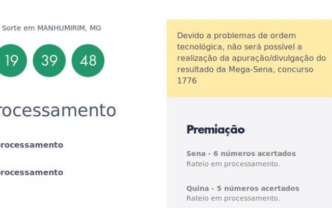 Site oficial informa sobre problema na divulgação do rateio da Mega-Sena