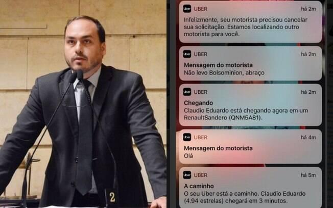 Carlos Bolsonaro usou sua conta no Twitter para pedir um posicionamento da Uber em relação a atitude do motorista
