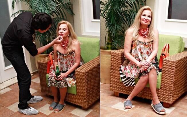 Brunete Fraccaroli se prepara para gravação em spa