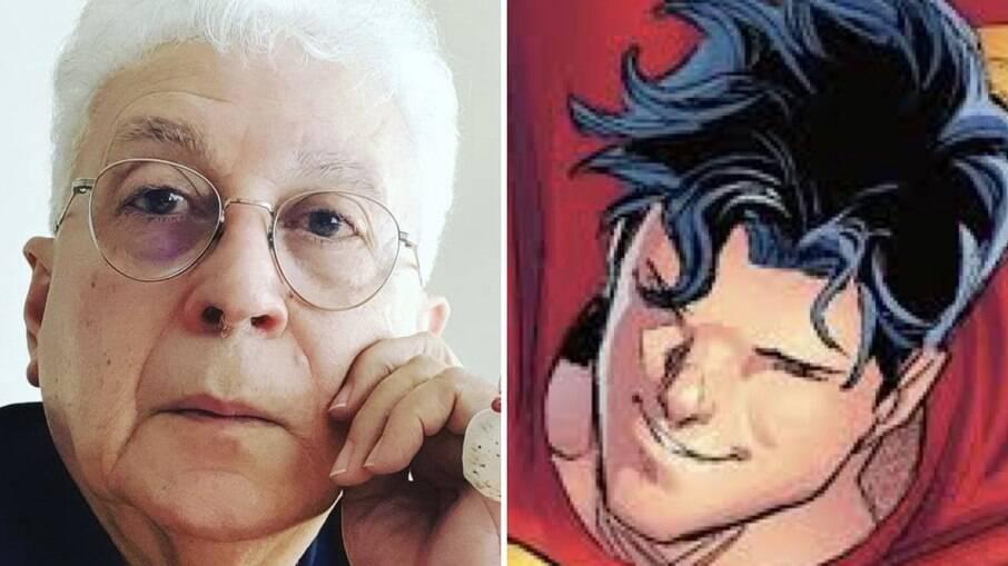 Aguinaldo Silva e Jon Kent, conhecido nas histórias em quadrinhos por herdar o posto do pai, Clark Kent