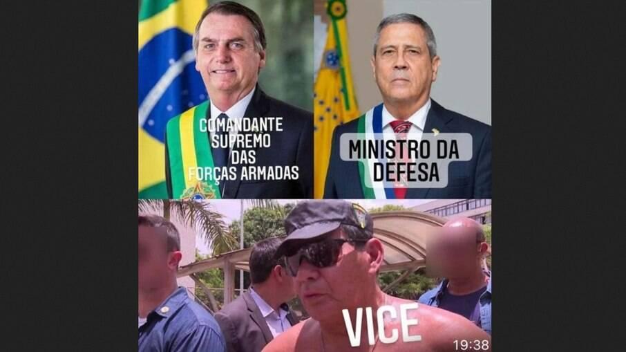 Bolsonaro zomba de Hamilton Mourão em publicação no WhatsApp