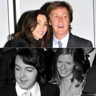 Paul McCartney com Nancy Shevell e ao lado de sua primeira mulher, Linda Eastman