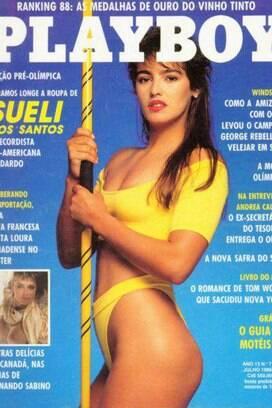 Sueli dos Santos, do lançamento de dardo, estampou a capa de Playboy em julho de 1988, pouco antes das Olimpíadas de Seul. Competiu em três Pans: 1987, 1991 e 1999.. Foto: Reprodução