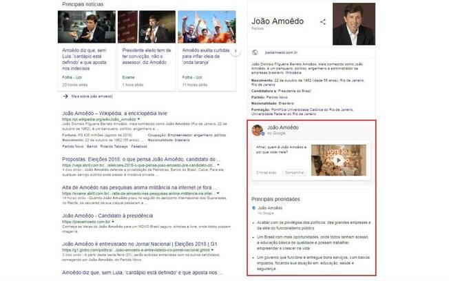 Propostas de candidatos: barra lateral do candidato João Amôedo (Novo)
