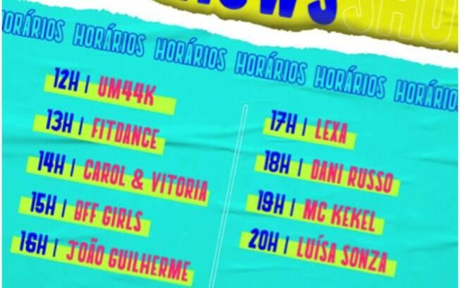 Horários do Festival Teen