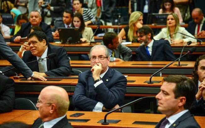 Presidente da Câmara dos Deputados, Eduardo Cunha, durante eleição de novo líder do PDMB na Câmara