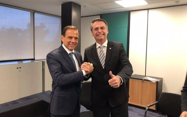 João Doria e Jair Bolsonaro durante encontro em Brasília