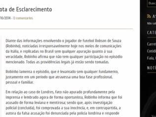 O craque do Santos se pronunciou sobre o fato em nota oficial divulgada no seu site