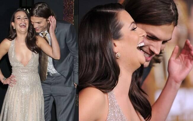 Ashton Kutcher e Lea Michele: olhar discreto