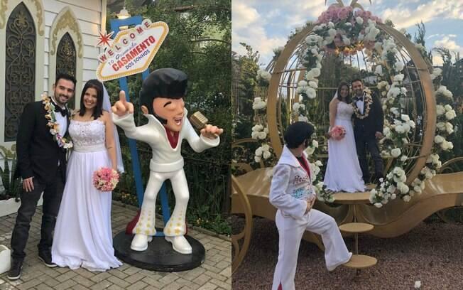 O casal paulista quis fazer um casamento temático com o tema Elvis Presley e eles definem a experiência como incrível