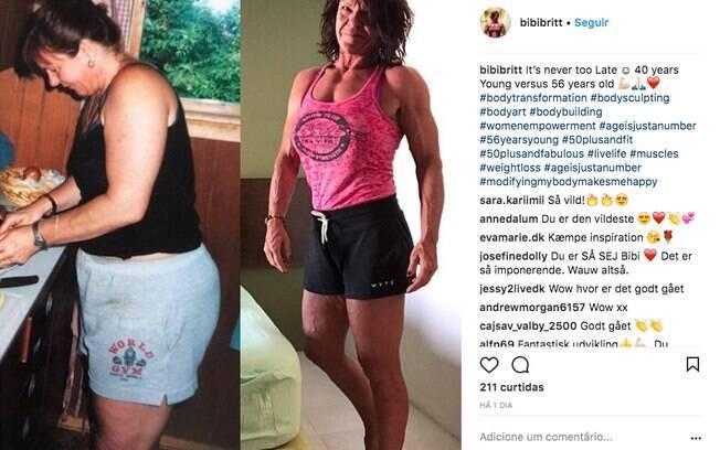Bibi Britt Johannesen descobriu no exercício o melhor remédio para recuperar a autoestima e até a libido depois do divórcio e supreende com antes e depois. Ela mostra como era aos 40 anos e como está atualmente, aos 56