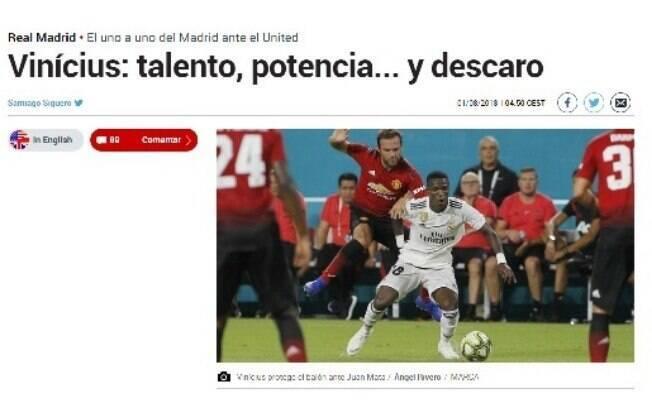 Jornal destacou a ousadia do atacante brasileiro