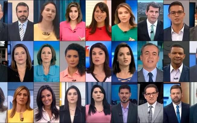 montagem com jornalistas da globo
