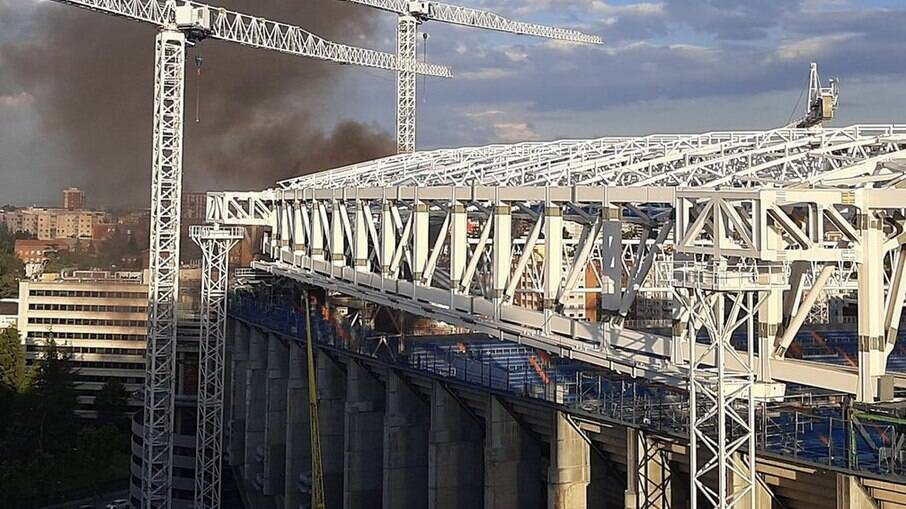 Incêndio atinge Santiago Bernabéu